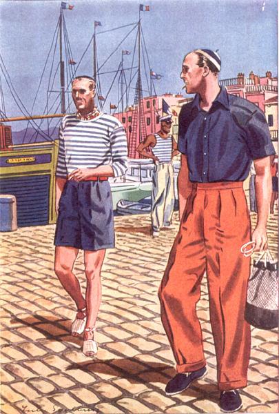 Quelques tenues portuaires : à gauche une marinière portée avec un bermuda et un foulard, à droite un pantalon taille haute avec chemisette marine, qui aurait aussi bien pu être un t-shirt actuellement, et espadrilles. Notez également le marcel en fond. Source : Apparel Arts
