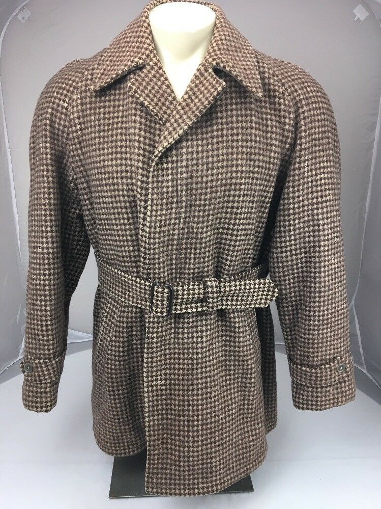 Vtg-1950s-Belted-Coat-Norfolk-Jacket-Quilted-Lining