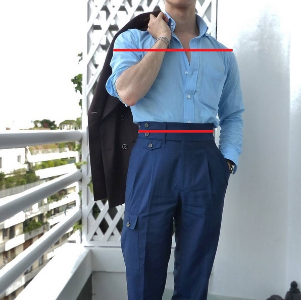 Une ceinture très épaisse qui marque la taille de haut en bas : le pantalon encadre complètement les dorsaux et épaules pour une forme en V accentuée.