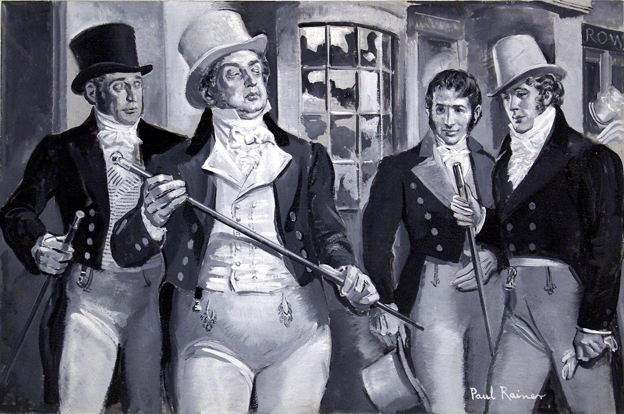 Les dandys du XIXe portaient des pantalons serrés. Illustration : Paul Rainer