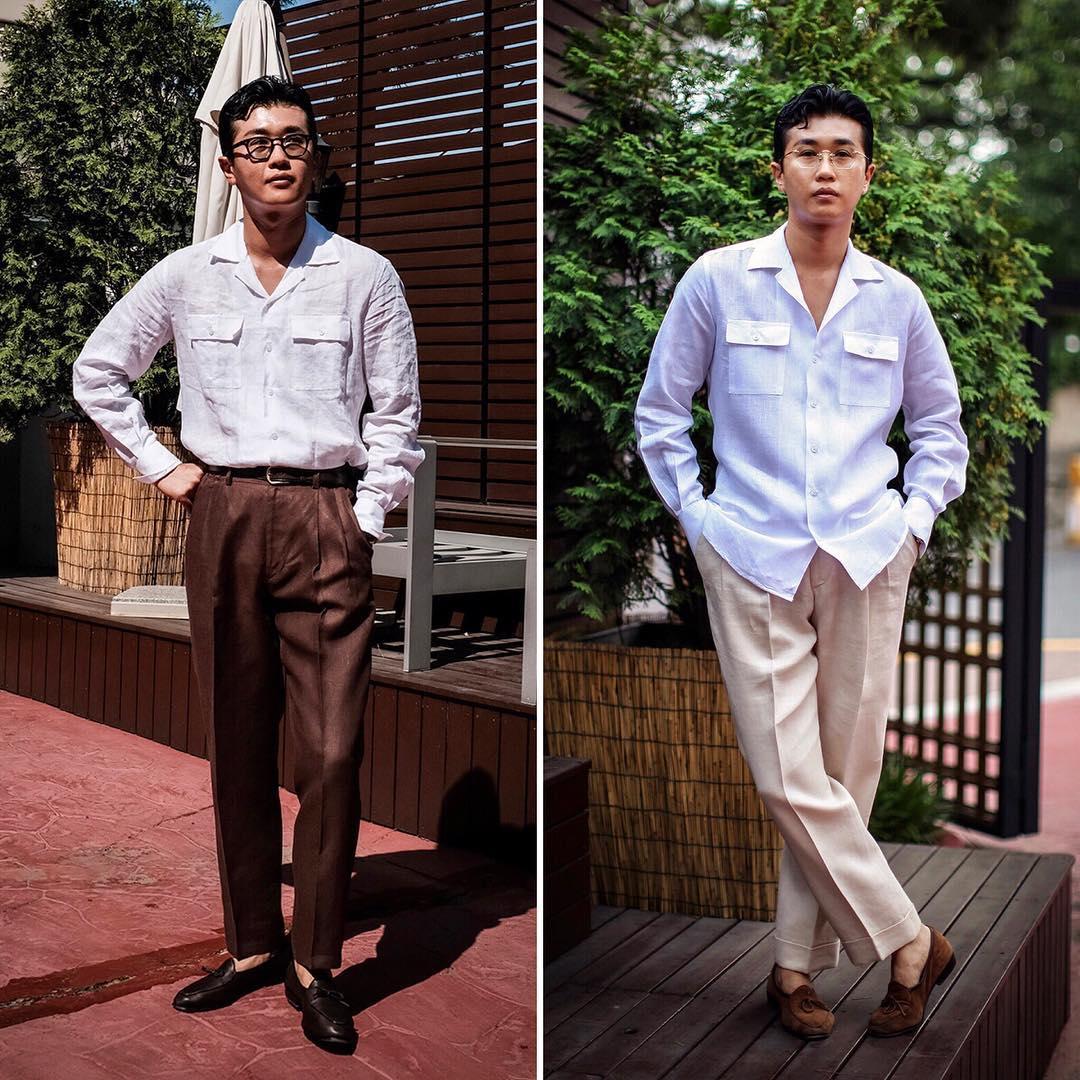 La présence de poches et d'un col cubain permet de casualiser facilement une chemise. Deux façons de porter une chemise similaire. Source : Chad Prom.