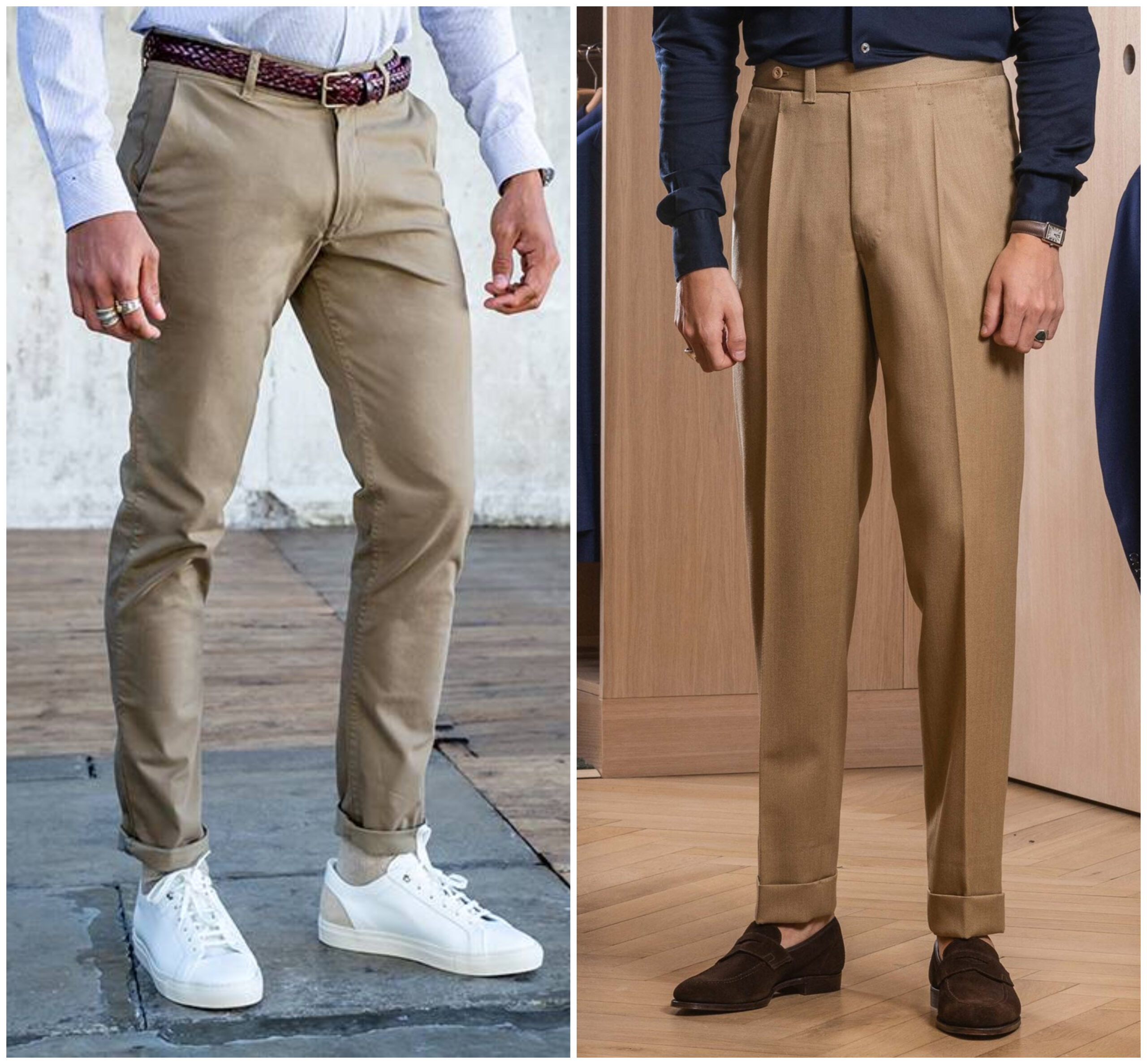 """À droite, ce que nous entendons par """"un pantalon qui vous va"""", à gauche, de quoi jardiner le dimanche. Pour en savoir plus, nous vous invitons à lire les articles suivants :  <a href=""""https://www.sartorialisme.com/la-bonne-coupe-episode-2/""""> La Bonne Coupe 2, sur la hauteur du pantalon (résumé : les tailles basses, c'est de la merde !)</a> <a href=""""https://www.sartorialisme.com/la-bonne-coupe-episode-3/""""> La Bonne Coupe 3, sur le tombé du pantalon, c'est à dire l'allure générale que prend le tissu : sa forme, son amplitude, ses plis et sa longueur.</a>"""
