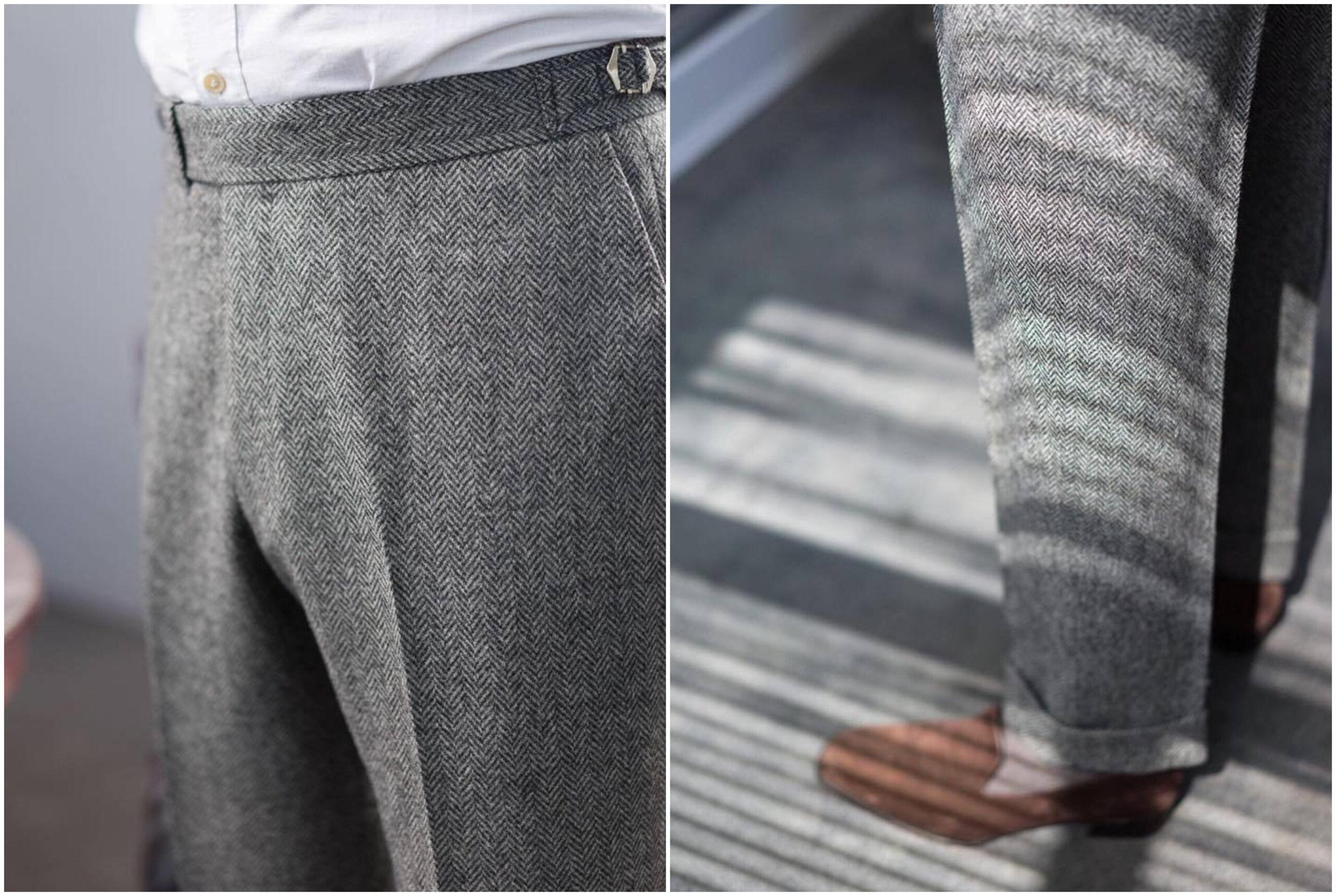 Sur ce pantalon, pas de pinces mais un pli très marqué.