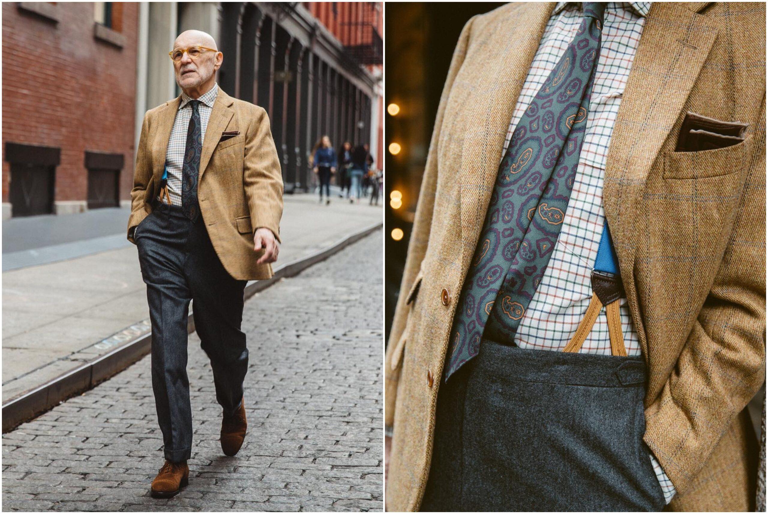 Choix judicieux des matières (tweed, flanelle, veau velours) et des couleurs (tons beiges et gris) : la tenue est parfaitement cohérente. Source : Bruce Boyer, Drake's.