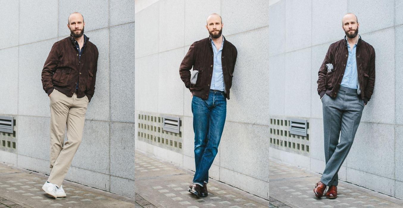 Observons ces tenues qui ont toute pour base une veste en veau-velours type valstar :  <br>- la première est très casual et facile à porter grâce aux sneakers et à la chemise foncée ;  <br>- la seconde est rendue plus formelle avec la chemise bleu ciel et les derbies choco, mais le port d'un jeans vient la rendre beaucoup plus plouc-friendly ;  <br>- la troisième tenue composée d'un pantalon en flanelle est la plus formelle et la moins facile à porter étant donné que la pièce n'est pas très commune dans le vestiaire masculin actuel.  Source : Permanent Style