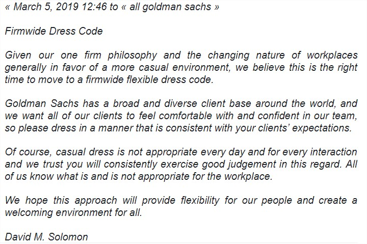 email dress code goldman sachs
