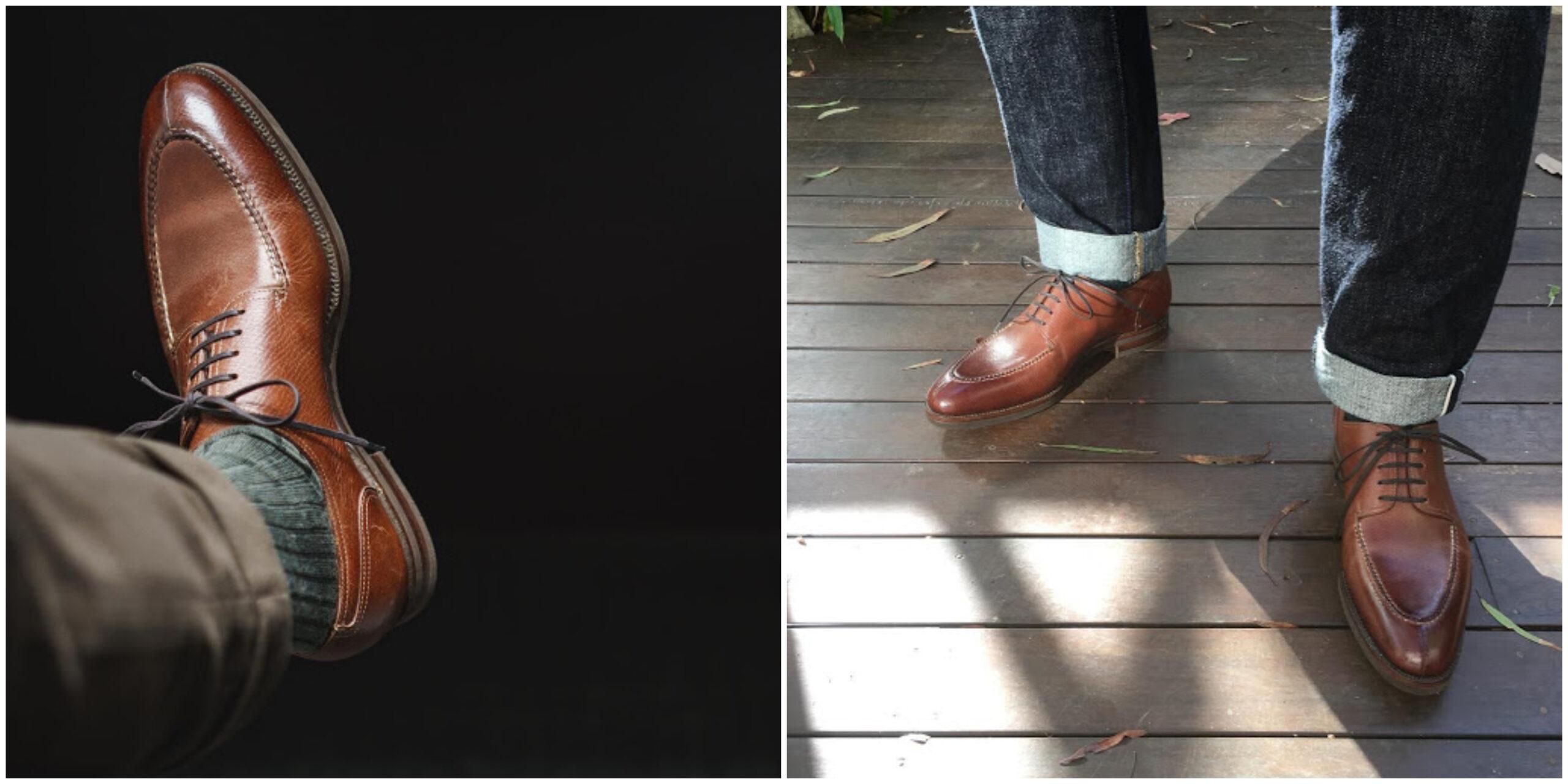 Les derbies marron foncé incarnent le soulier polyvalent par excellence. Elles se porteront aussi bien avec un pantalon habillé qu'avec un chino ou un jean à condition toutefois que sa coupe ne soit pas calquée sur celle d'un legging. Ici un demi-chasse de chez Zonkey Boot. Sources : @burzanblog (gauche), @gongdrew (droite).