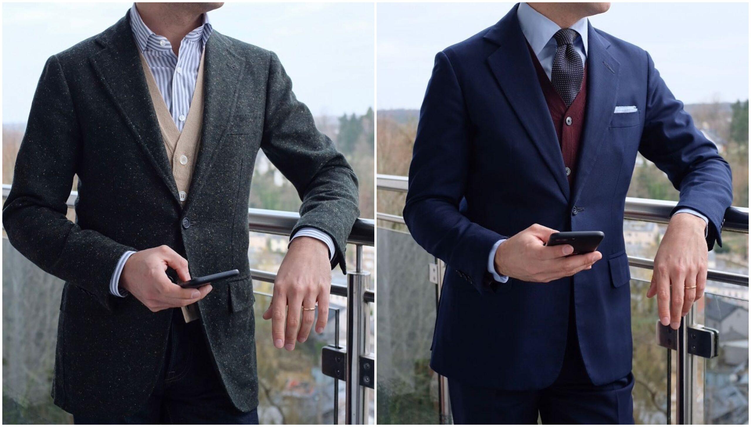 La hauteur de boutonnage est quasi-identique, ce qui varie c'est la longueur de la veste et l'ouverture des quartiers. Une faible ouverture des quartiers couplés à une veste un peu plus courte (sans excès), permet de donner une silhouette plus masculine à ce type d'anatomie.