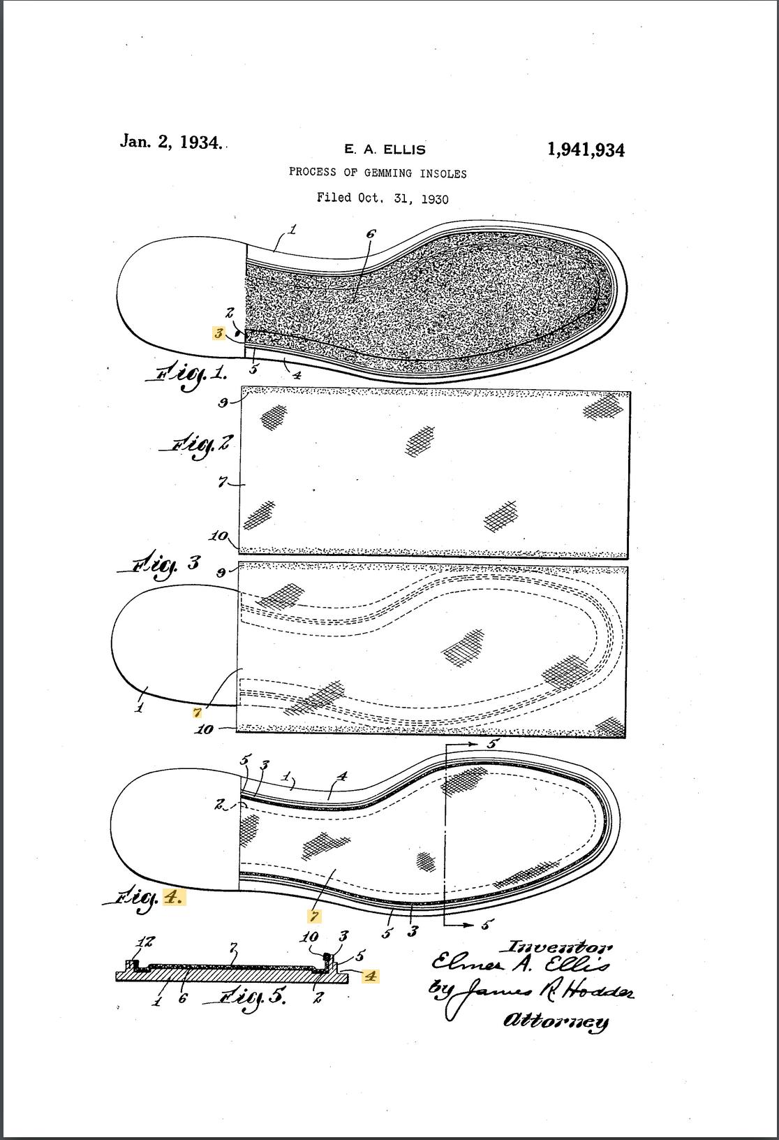 Illustration de l'un des brevets portant sur la pratique du gemming. La première image présente le mur gravé, la seconde le morceau de tissu qui va servir à l'entoilage, la troisième présente la superposition des deux et enfin la dernière présente le résultat une fois l'excès de tissu enlevé. (Source : googlepatent)