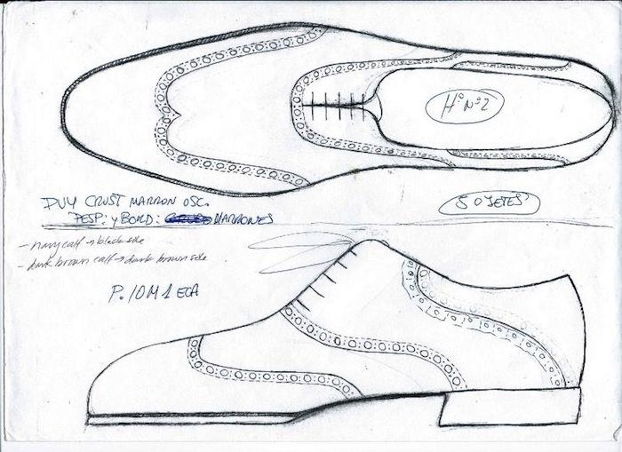 Un croquis qui sert à déterminer l'aspect général de la chaussure. (source : shoesnob)