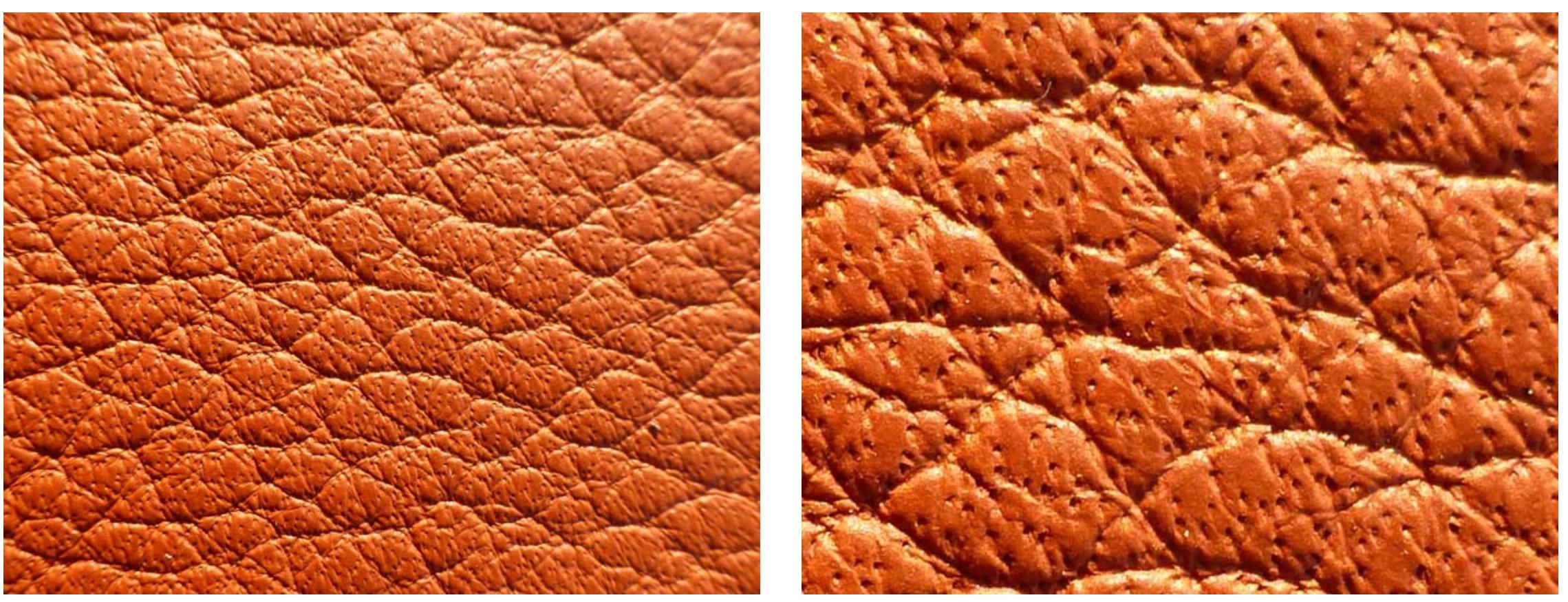 Un cuir semi aniline, la peau a été teinté avec des pigments, mais les pores sont encore visibles.  (source colourlock)