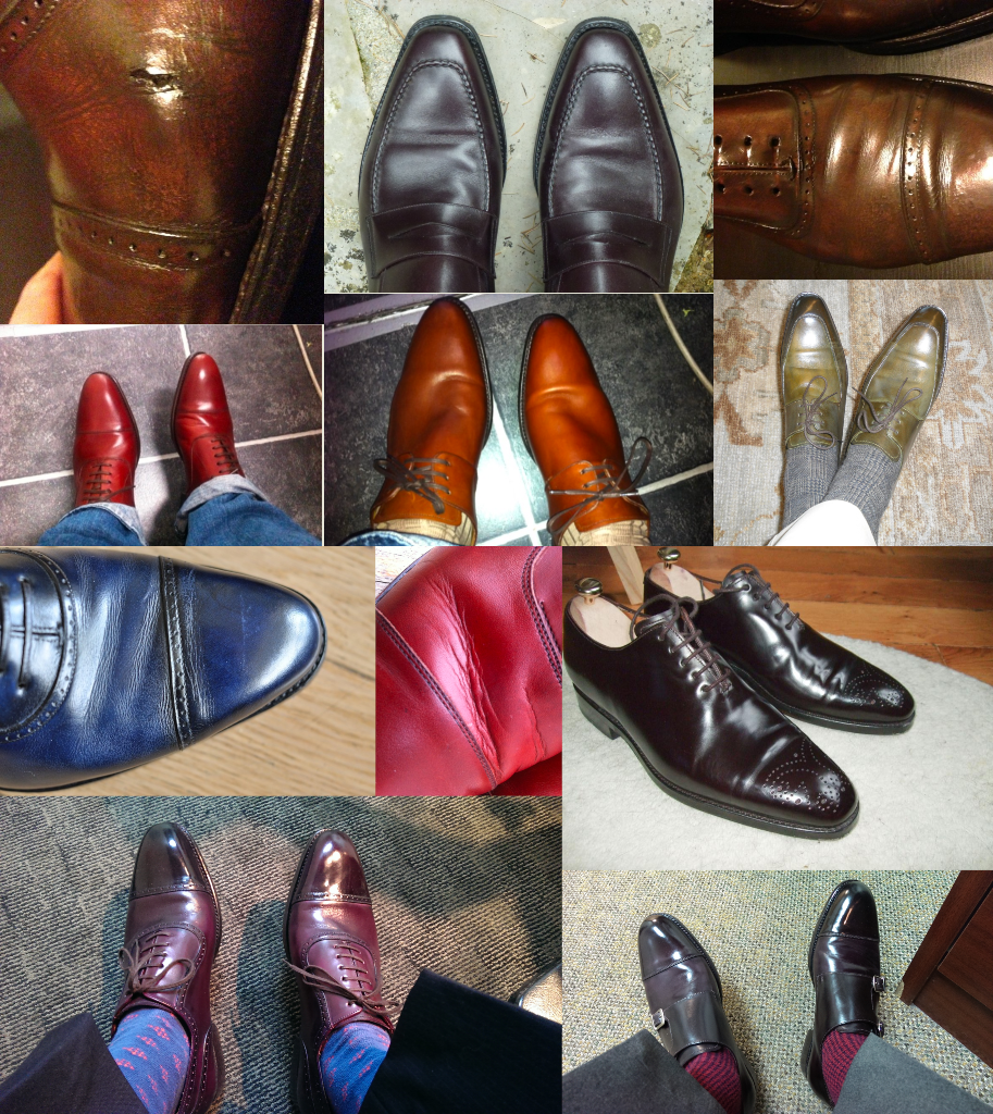 """Je ne lis pas dans les plis du cuir, ni dans le marc de café, toutes les chaussures plissent, c'est un fait. Si vous ne voulez pas de plis de marche, achetez des sabots. Les plis sont le résultat de beaucoup de facteurs, notamment la façon dont le pied remplit la chaussure et à quel point la forme lui convient. Néanmoins cela ne veut pas dire que le cuir n'a aucune responsabilité dans le problème. Sur cette sélection de paires 7L, toutes ont moins de 2 ans, beaucoup d'entre elles marquent très fortement et ont le fameux """"bourlet 7L"""" qui fait souvent craquer la tige comme dans la dernière photo. Est-ce que les vendeurs de la marque ne savent pas conseiller les clients ? Est-ce que les clients ne savent pas choisir une forme adaptée ? Ou est-ce que le cuir utilisé est  mauvais ? (source : reddit, styleforum, depiedencap, engrandepompe)"""