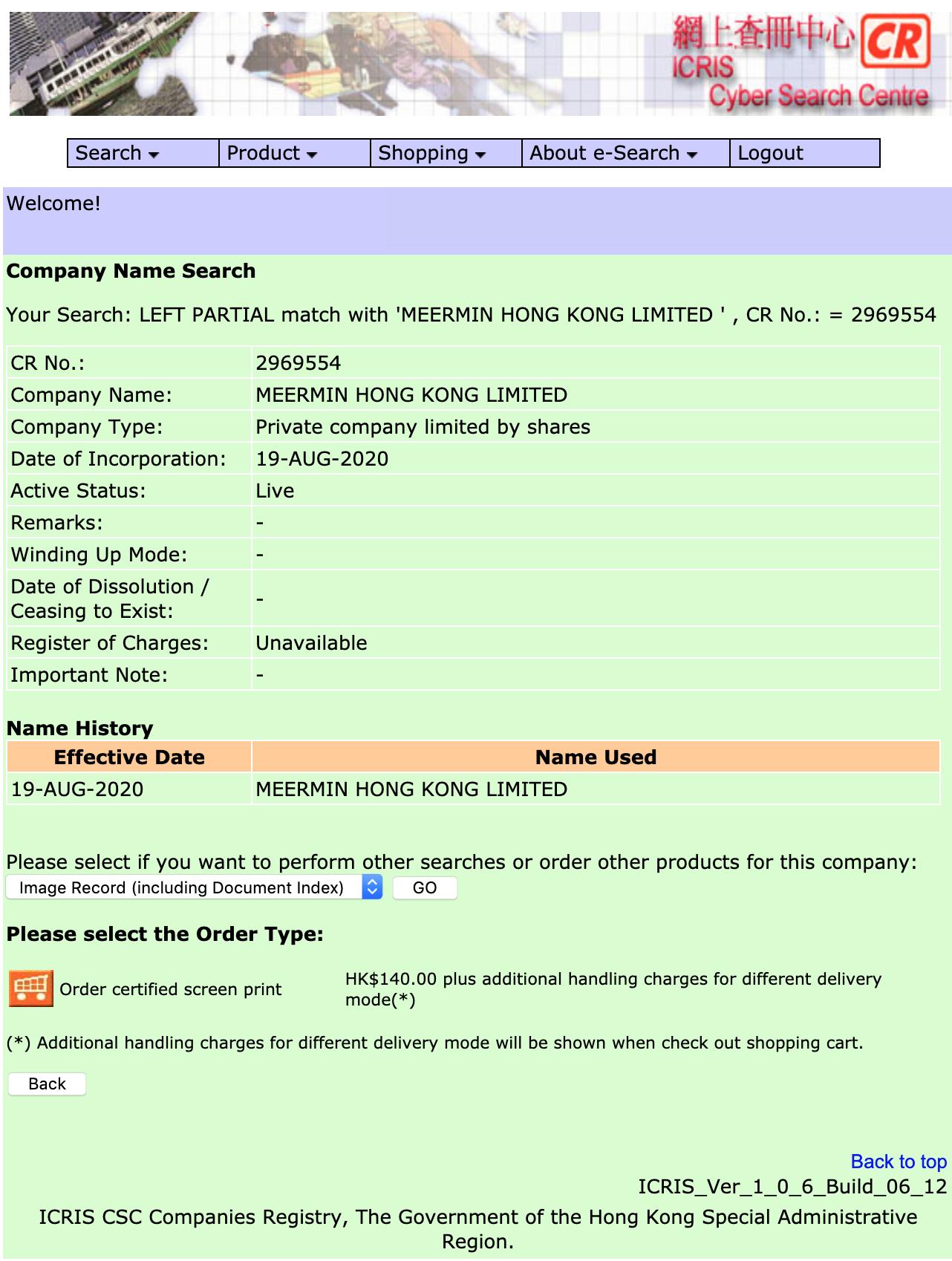La nouvelle entité commerciale de Meermin enregistrée à HK en pleine crise du virus Chinois. Comme quoi le business n'est pas mauvais pour tous. (Source: Companies Registry HK)