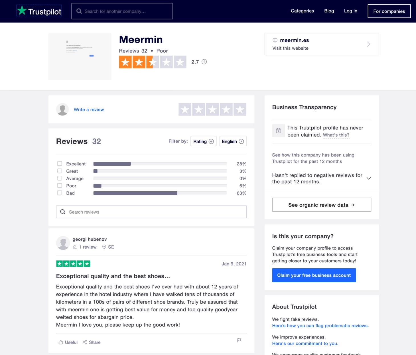 La réputation de Meermin sur internet est pour le moins polarisante. Qui croire? Les 63% d'avis négatifs ou les 28% d'avis dithyrambiques? Je suis prêt à parier que les 63% ont eu affaire au service client de la marque. (Source: Trustpilot)