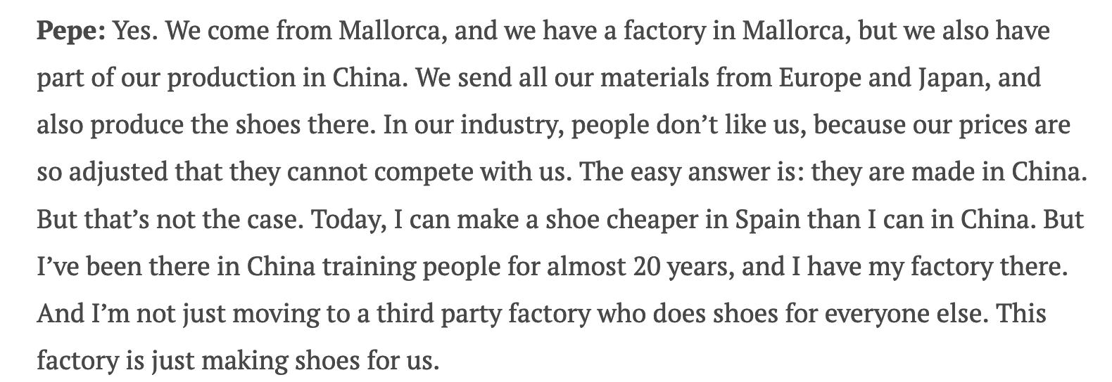 La théorie économique selon le directeur de Meermin, faire produire en Chine est plus cher qu'en Europe. Ça en dit long sur le QI des clients qui avalent le mensonge et sur son degré d'intégrité. (Source: Stitchdown).