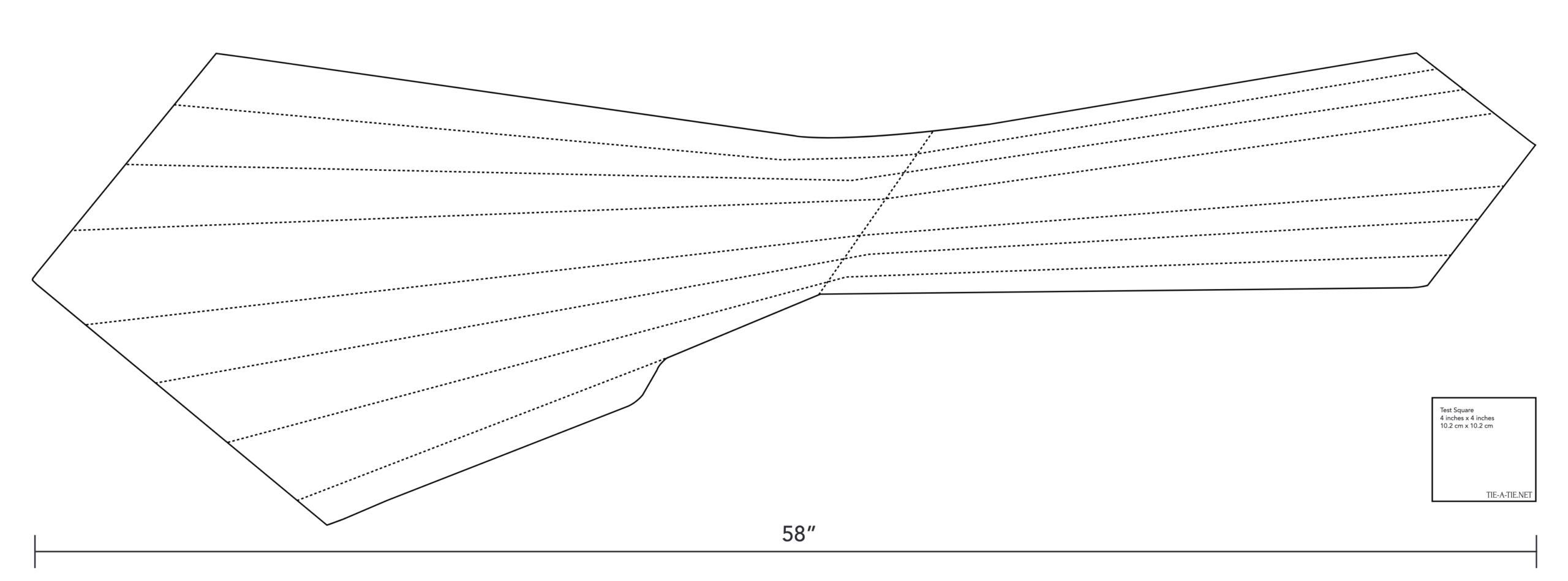 Un patron pour cravate sept plis. La multiplication du nombre de plis demande plus de tissus. (Source: Tieatie)