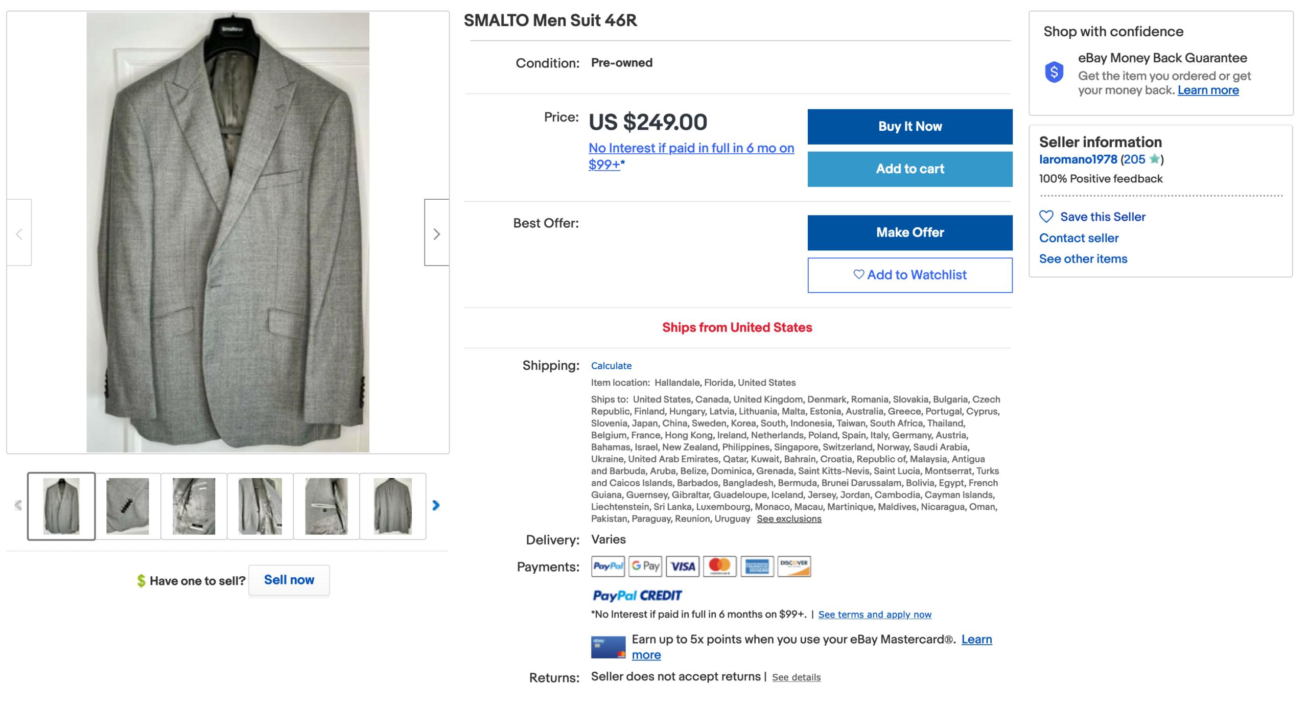 Un costume Smalto pas cher? (Source: Ebay)