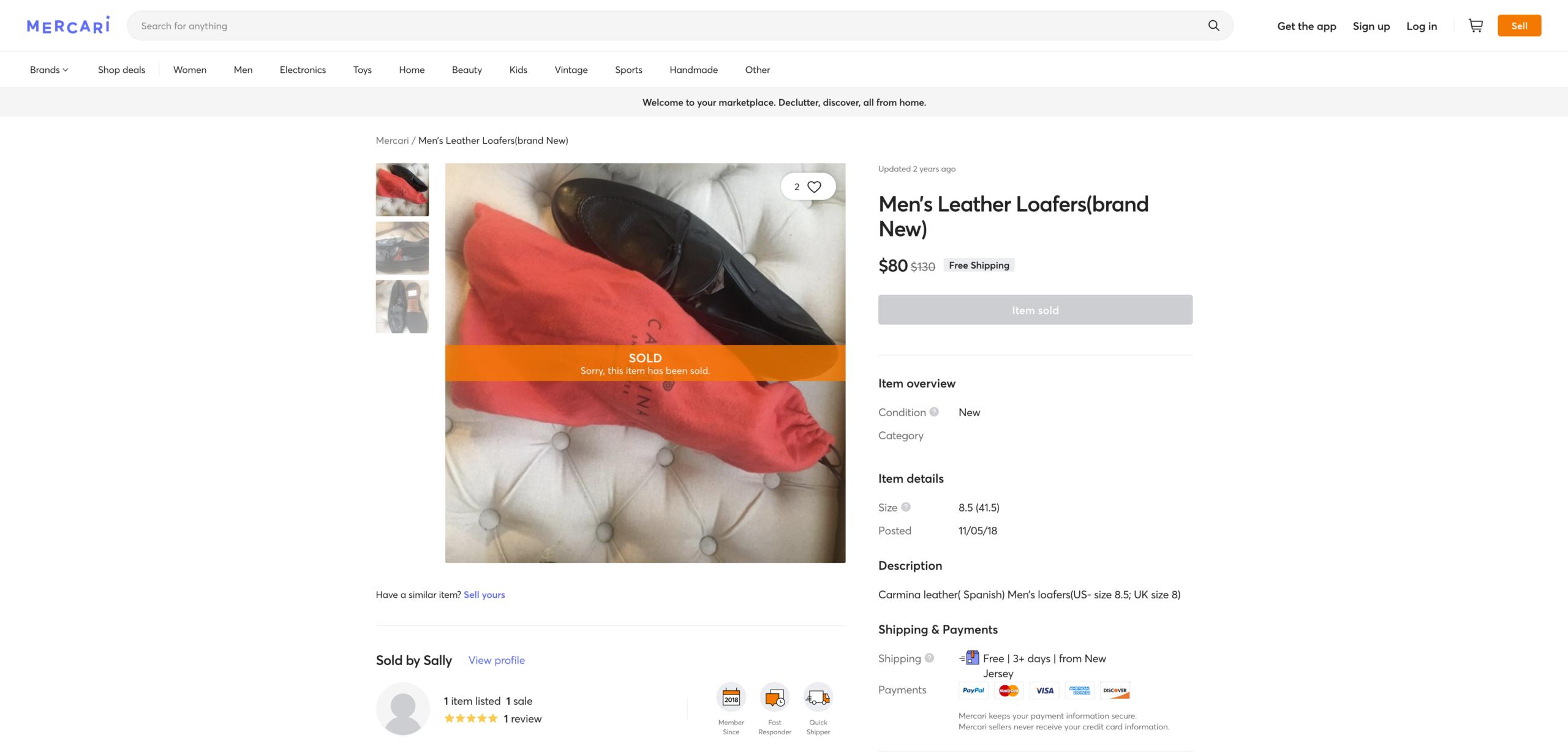 Le genre de choses que l'on peut trouver sur les sites moins populaires. Le prix est très en dessous de ce qu'on trouve habituellement pour la marque. (Source: Mercari)