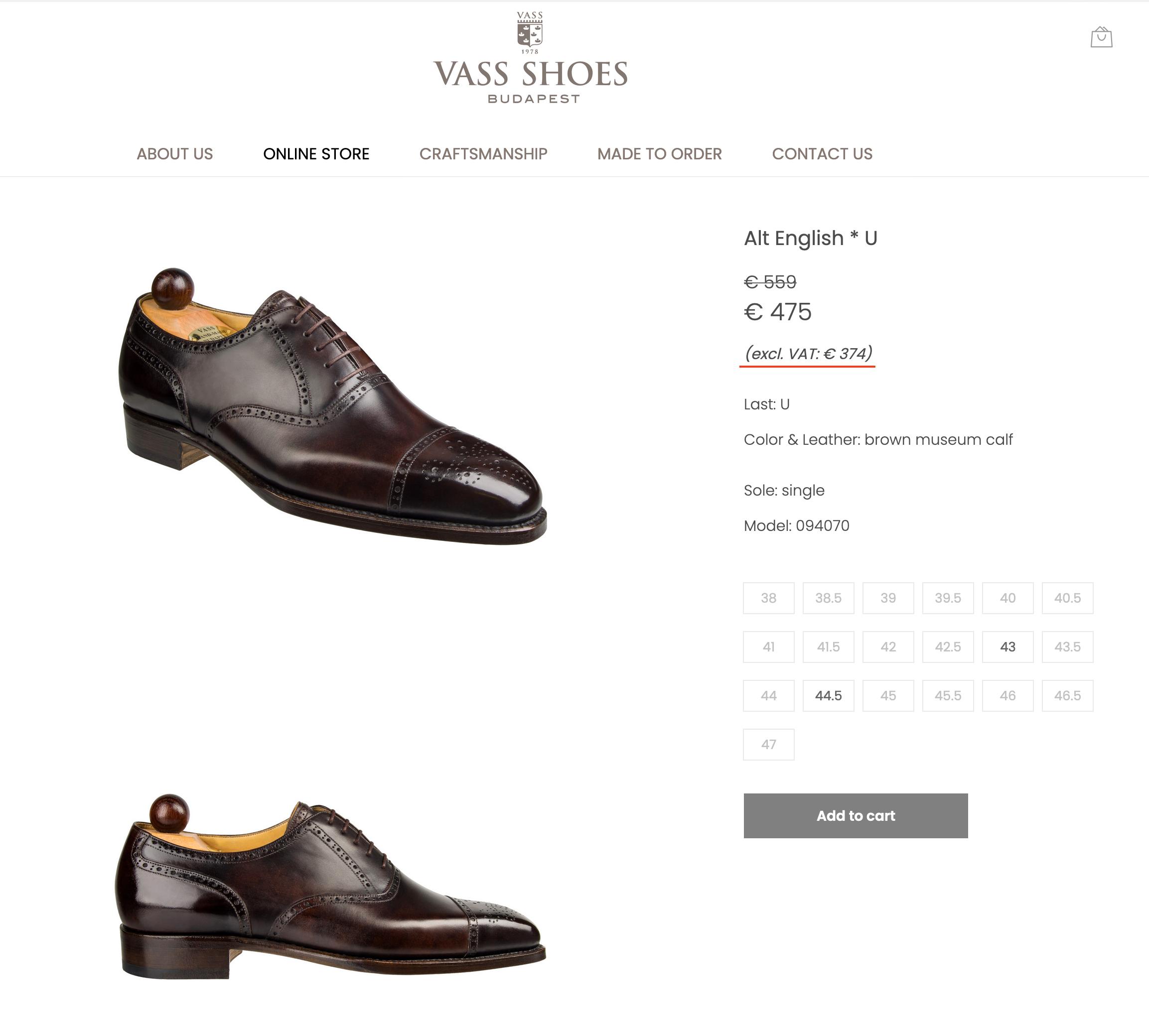 Le site officiel de Vass avec une paire en solde à 374€ pour clients hors UE. (Source: Vass)