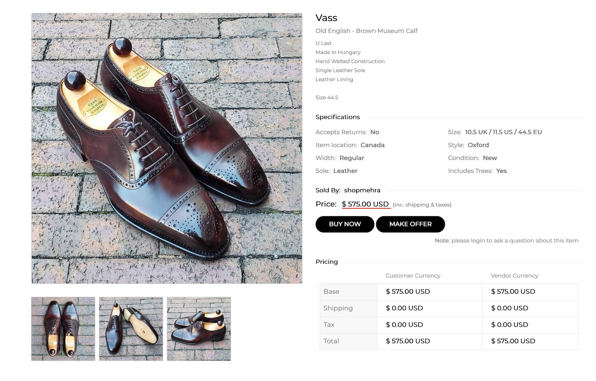 Exactement la même paire neuve mais en vente sur un site US dédié à la chaussure qui mélange seconde main et produits neufs. Si vous achetez là plutôt que chez Vass, vous allez le regretter.