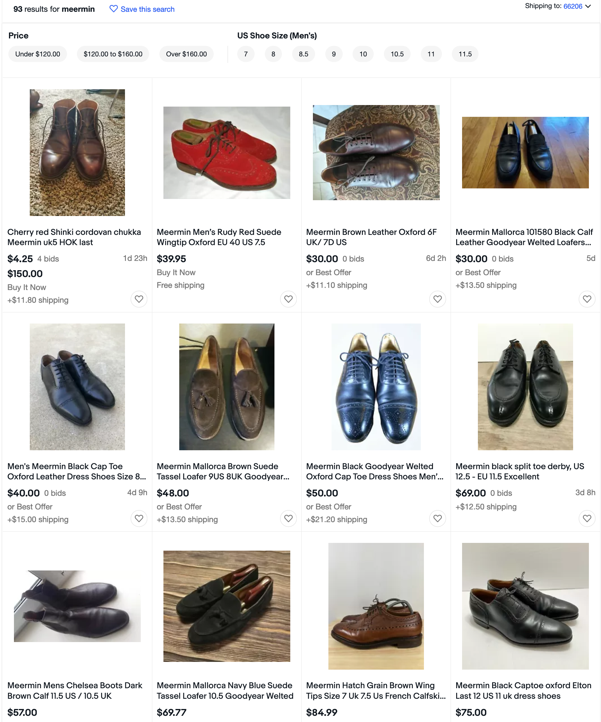 Enfin le site international d'Ebay, la sélection est plus large et les prix commencent à un niveau inférieur. (Source: Ebay)