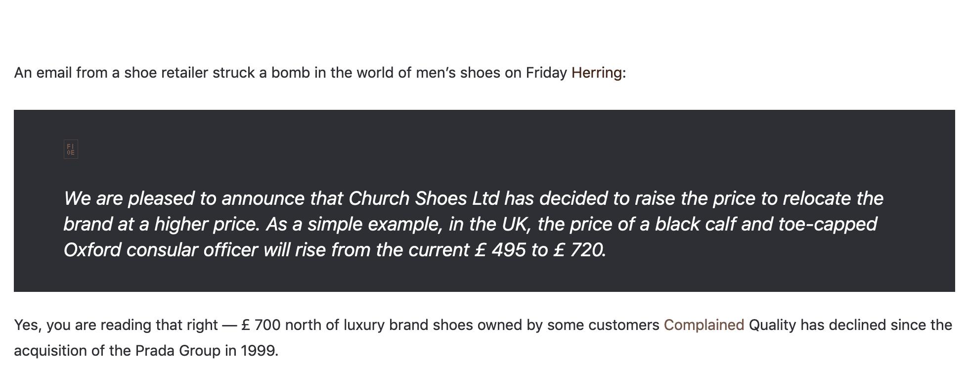 Church's qui décide d'augmenter leurs prix d'environ 50% du jour au lendemain. (Source: londonnewstime)