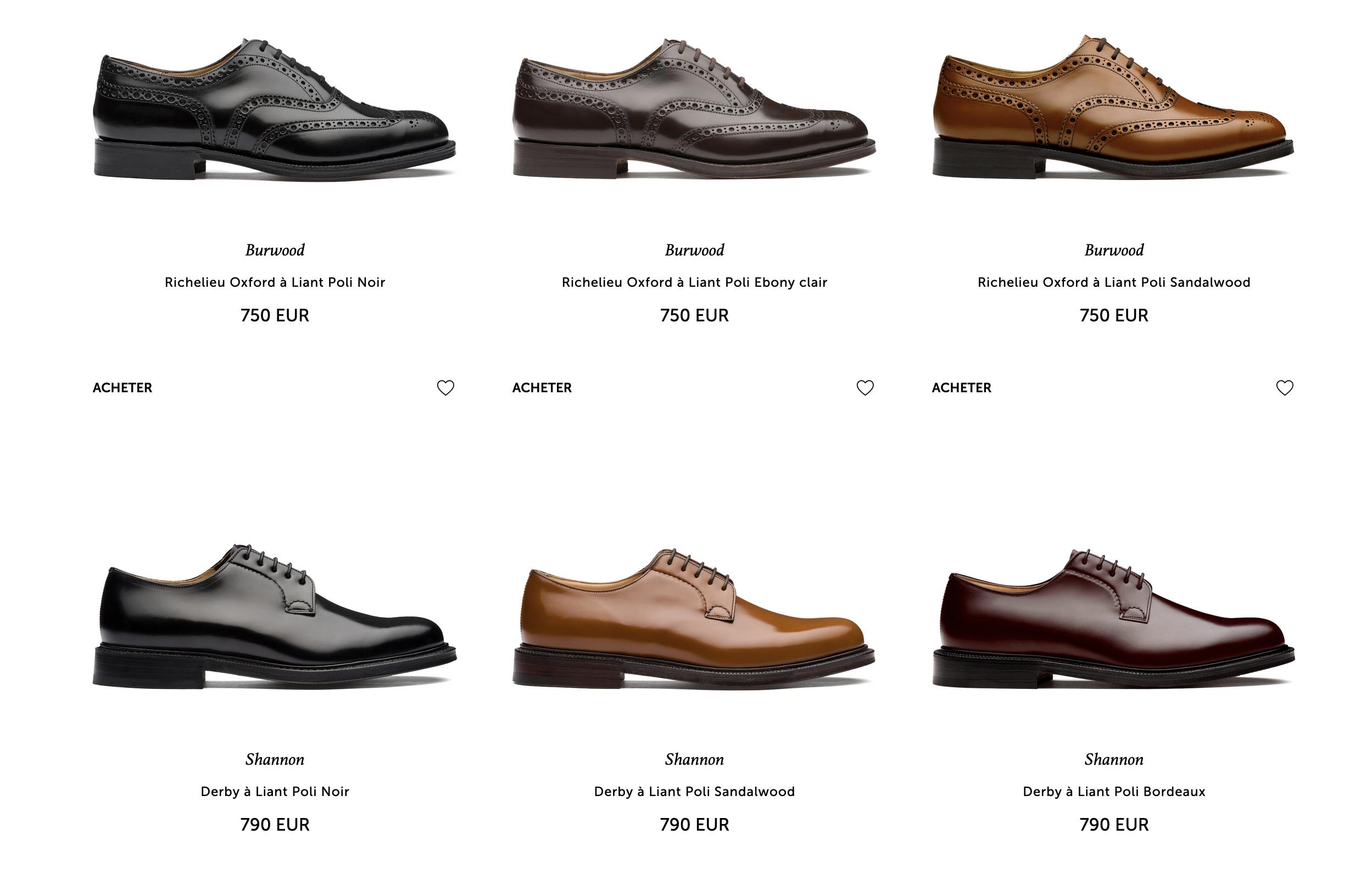 Alors que la gamme actuelle est composée massivement de chaussures en cuir bookbinder… pardon, à liant poli, pour utiliser l'expression maison. Faire toujours plus de Shekel semble être l'unique préoccupation de la marque. (Source: Church's )