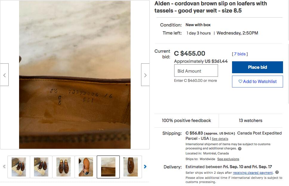 Une paire d'Alden modèle 561 présentée encore une fois comme étant en cordovan marron. (Source: Ebay)