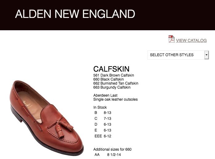 Sans surprise, sur le site d'Alden le modèle 561 est décrit comme étant en calfskin marron…. On applaudit bien fort les 7 couillons qui sont en train d'enchérir sur la paire. (Source: Alden)