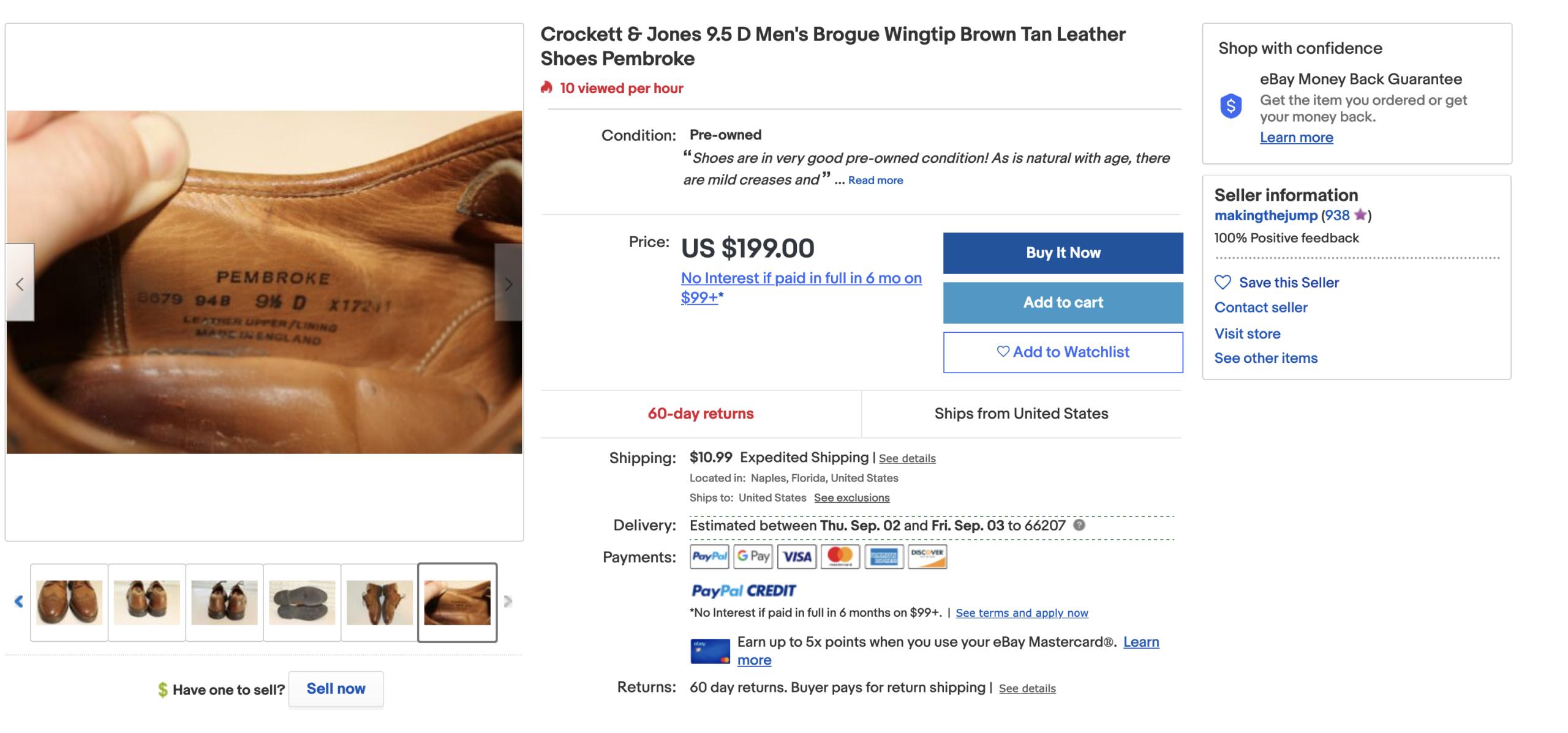 L'une des façons de confirmer la provenance des chaussures est de comparer les codes usines. Ici une paire de Crockett & Jones avec le modèle Pembroke. (Source: Ebay)
