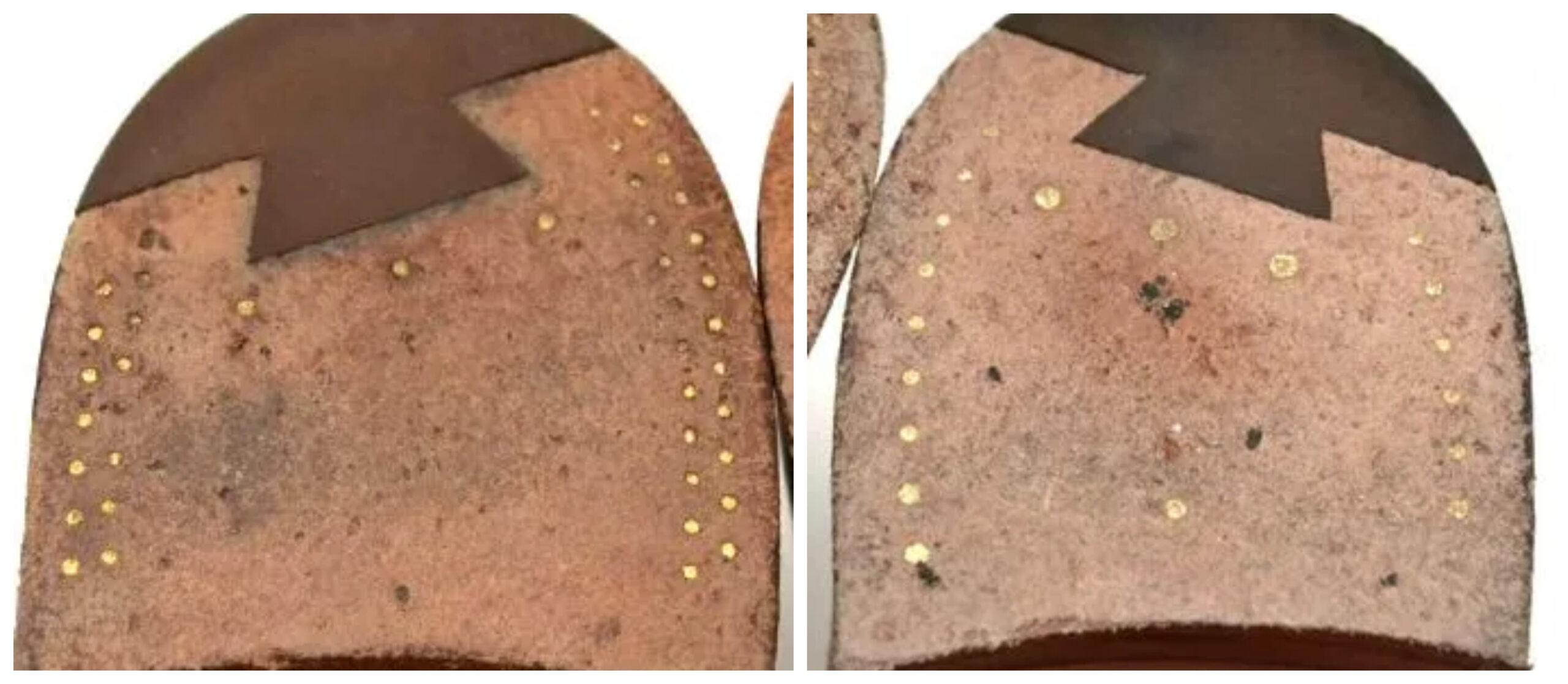 Deux types de patterns sur des paires de Crockett & Jones. L'un avec une rangée de pointes, l'autre avec deux. (Source: Sartorialisme)