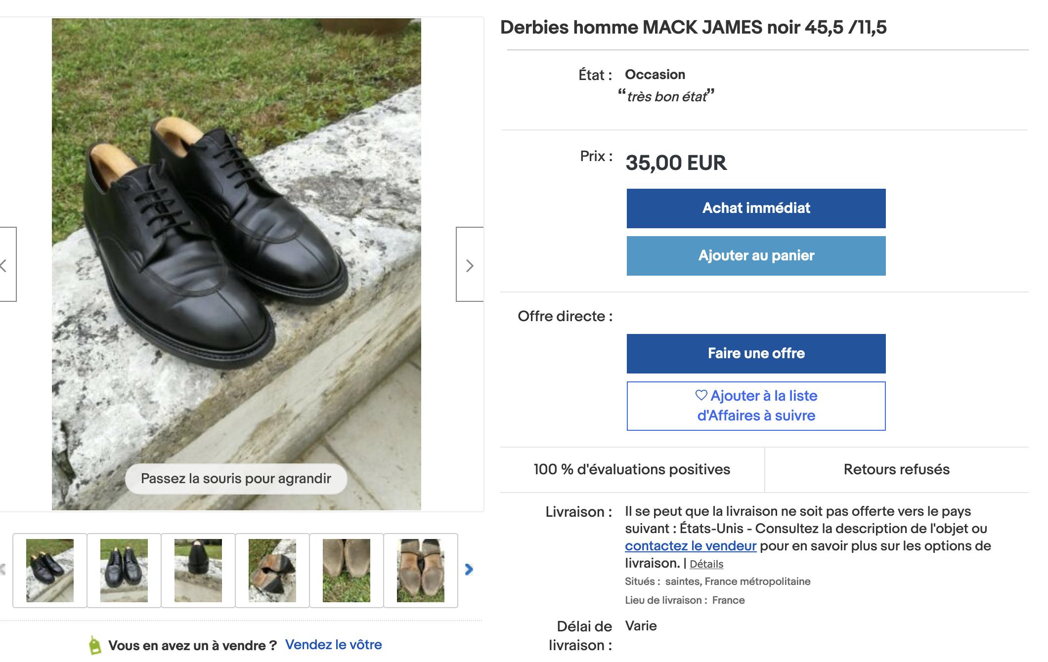 """Du Carlos Santos qui ne dit pas son nom pour 10 fois moins cher.  <a href=""""https://ebay.us/4KRwMo """"> Lien vers l'annonce Ebay</a> (Source:Ebay)"""