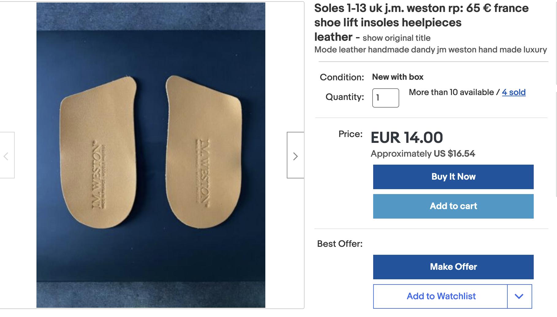 Il est possible d'acheter des premières de propreté pour les mettre dans des paires d'autres marques et ainsi faire artificiellement augmenter le prix des chaussures. Méfiance. (Source: Ebay)