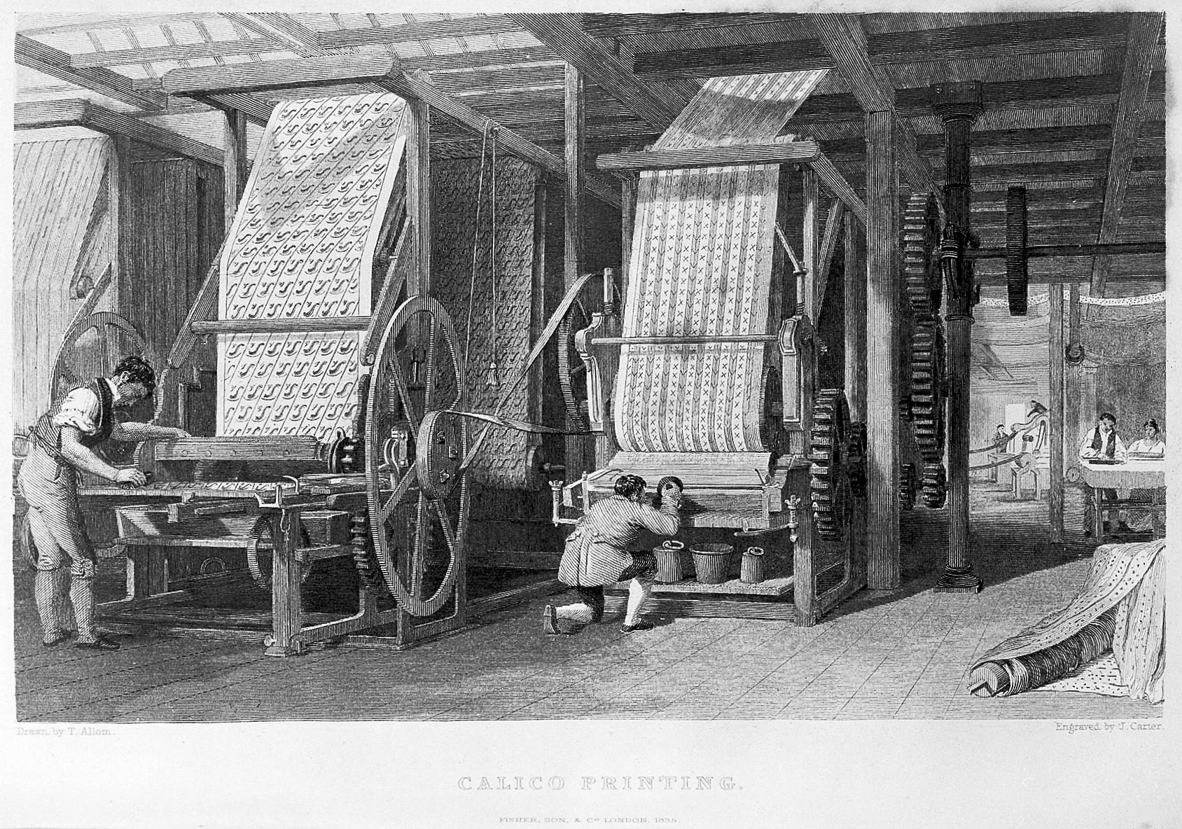 La révolution industrielle a mécanisé l'impression par blocs avec les premières machines. Le principe reste le même, mais à la place de blocs de bois on utilise des motifs forgés dans du métal. (Source: Wikimedia)