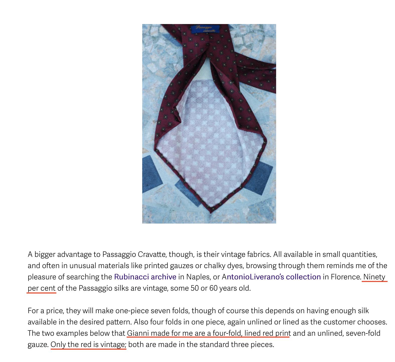 """Simone de Londres qui vante sur son blog """"le style permanent"""" les mérites des cravates Passaggio. Il est particulièrement content de sa cravate rouge, celle en soie """"vintage"""". Oui, oui celle avec l'envers blanc. Celle avec la soie imprimée à l'imprimante jet d'encre. Celle qui ne doit pas avoir plus de 10 ans d'âge. C'est pas vraiment vintage, ça, 10 ans. La preuve, c'est le millésime favori d'un Cohn-Bendit ou d'un Duhamel. Quelle surprise, le spécialiste du style permanent ne sait pas de quoi il parle. Notez également la mention des """"90%"""" cela va avoir son importance plus tard. (Source: Permanentstyle)"""