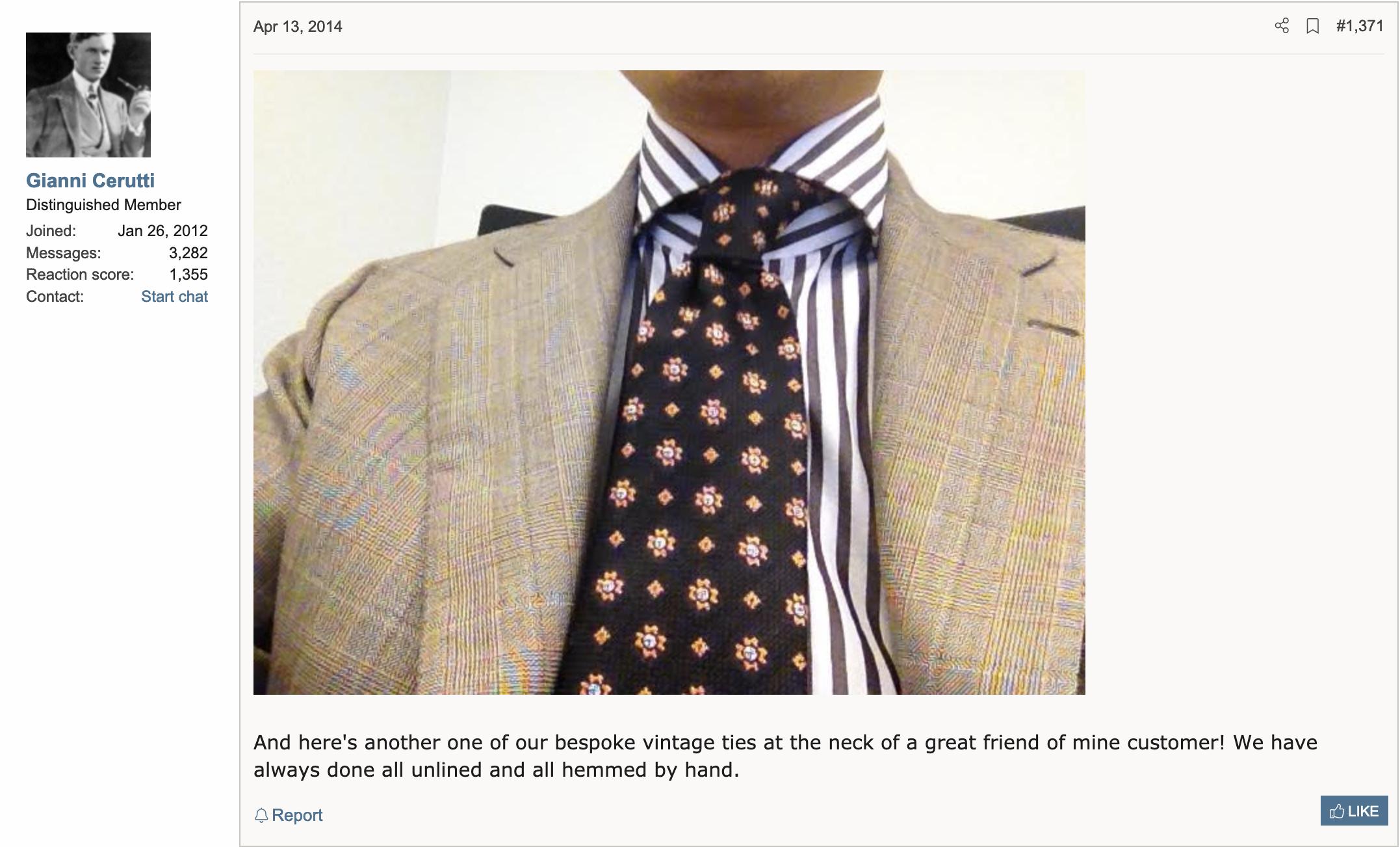 """Gianni présente fièrement la dernière cravate vintage qu'il a """"réalisée"""" pour un de ses """"great friend of mine customer"""" (Source: Styleforum)"""