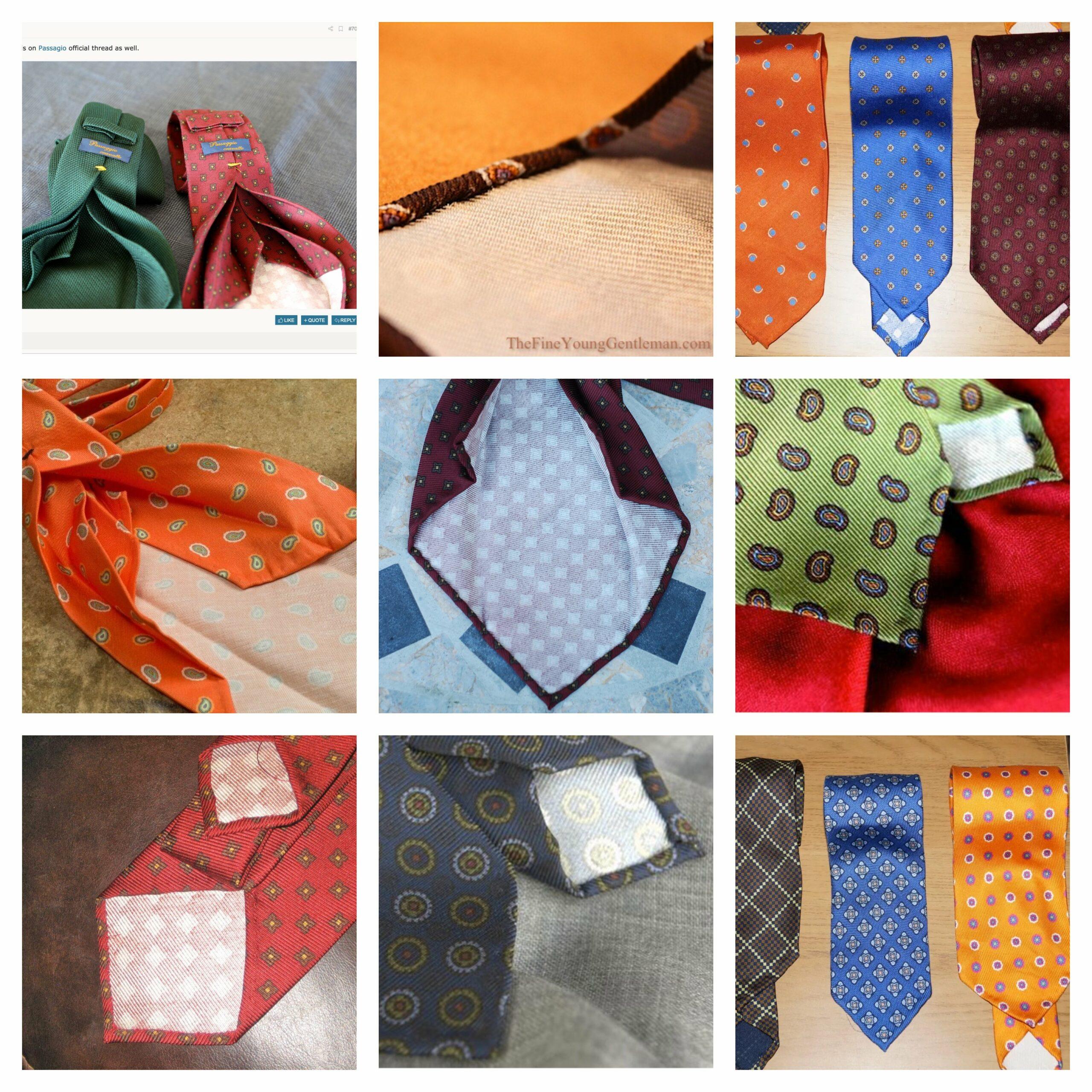 Petit florilège des cravates à dos blanc Passaggio (Source: Uptwondandy, shoeblogsnob, permanentstyle, styleforum, dressedwell, thefineyounggentleman)