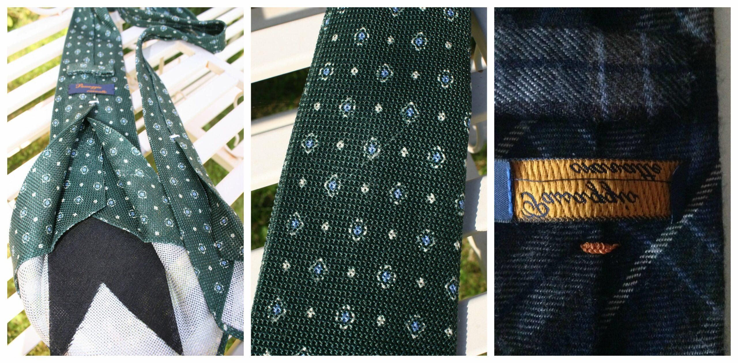 Bien souvent les cravates de Gianni ont des problèmes de dimension, mais elles ont aussi des défauts flagrants, comme des étiquettes cousues à l'envers ou des tissus endommagés. (Source: Styleforum)