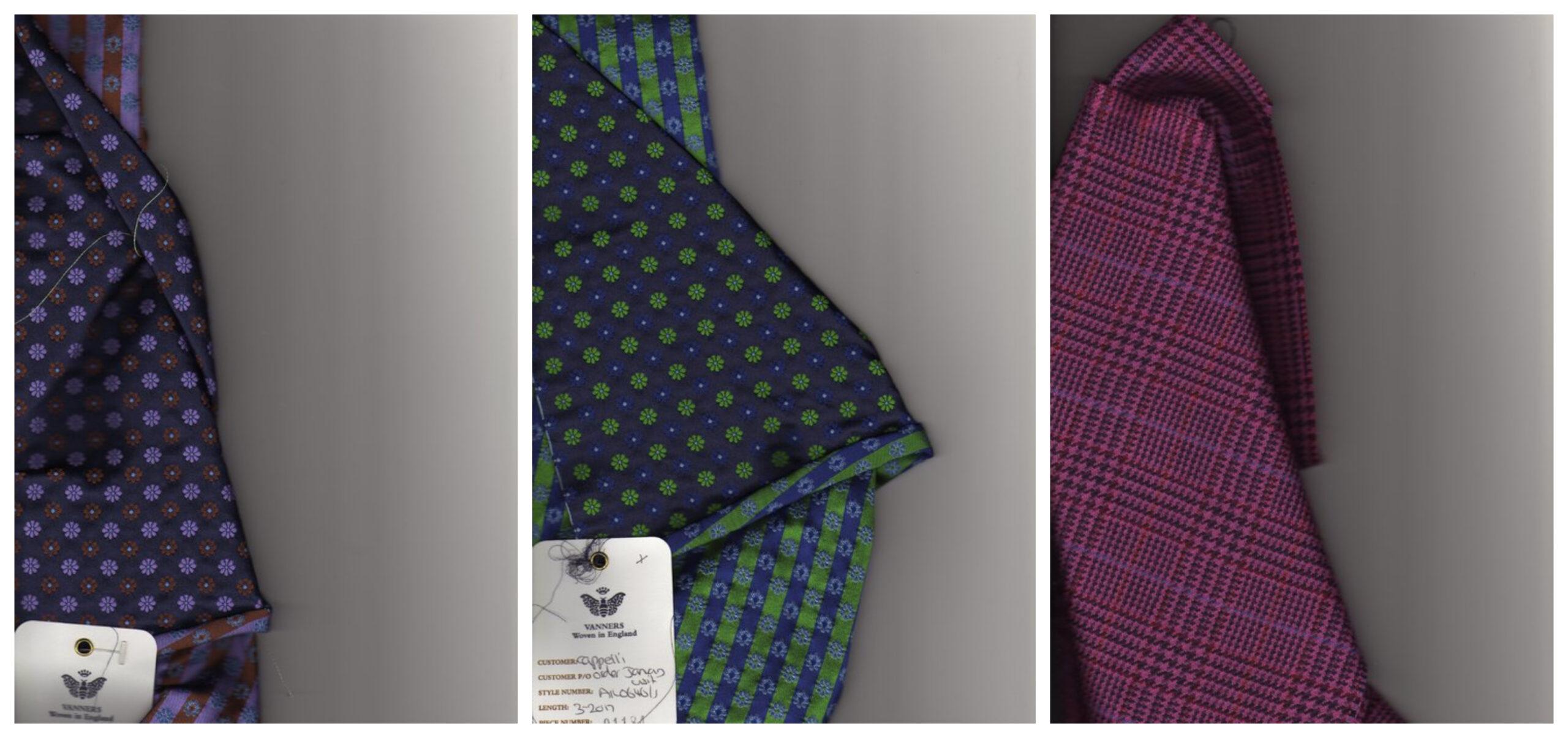 Un lot de tissu provenant de chez Cappelli, le tissu est identifié comme appartement à Cappelli sur l'étiquette, et le dernier tissu est, oh surprise, le même que celui utilisé pour la cravate Passaggio présentée au-dessus. (Source: Dressedwell)