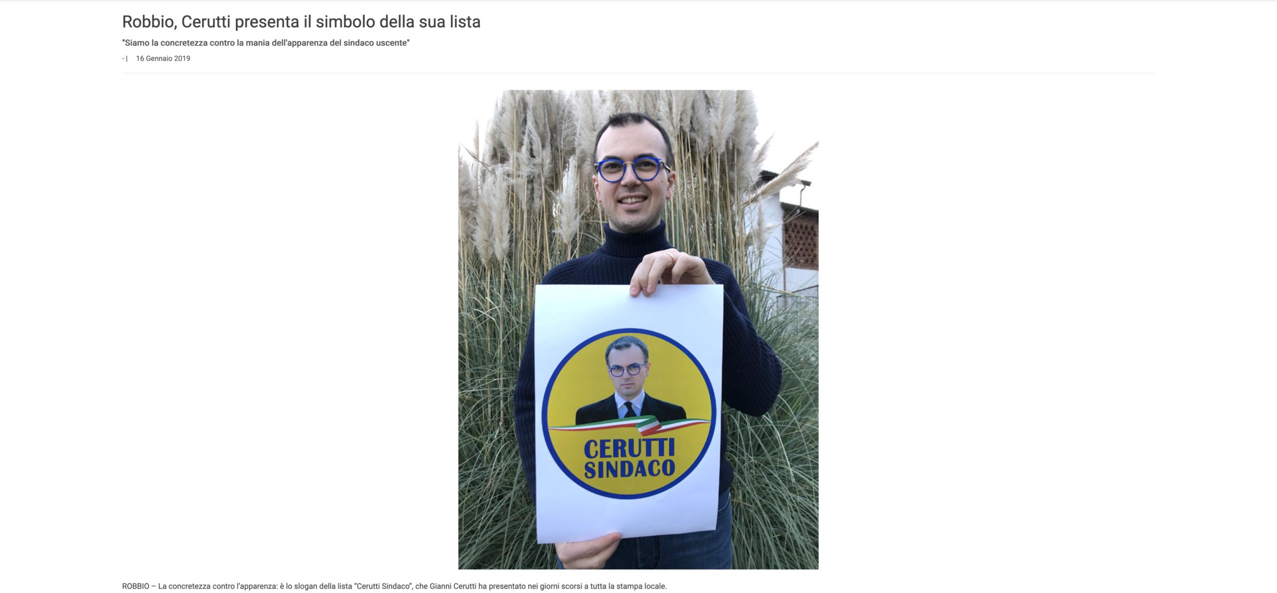 """Votez Gianni! Admirez l'artisanat de l'affiche, réalisée à l'ancienne """"like 100 years ago"""". (Source: ilnuovolomellino)"""